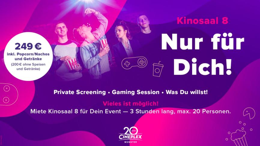 Cineplex Saavermietung Gaming Werbemittel
