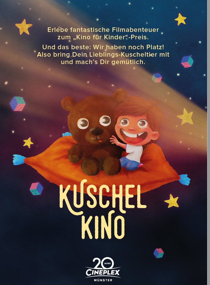 Marketing Idee: Auch das Kinderkino ist zurück und das Beste: jeder kann sein kuscheltier mitrbringen!